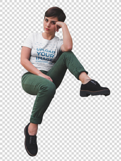 Transparent Mockup of a Girl Relaxing Near Cactus and Plants Wearing a T-Shirt a18441