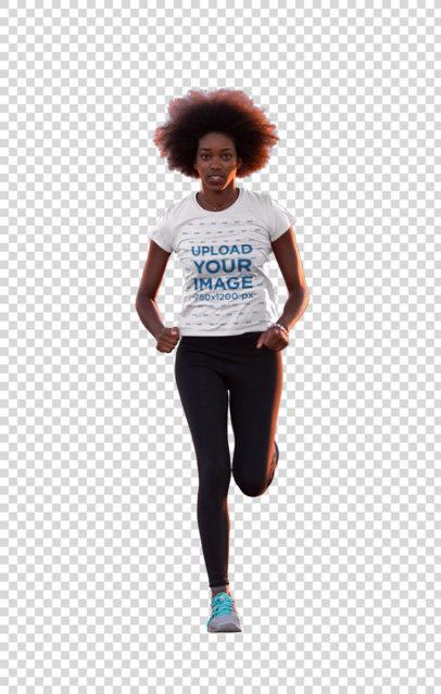Transparent T-Shirt Mockup of a Female Runner on a Track 34351-r-el2