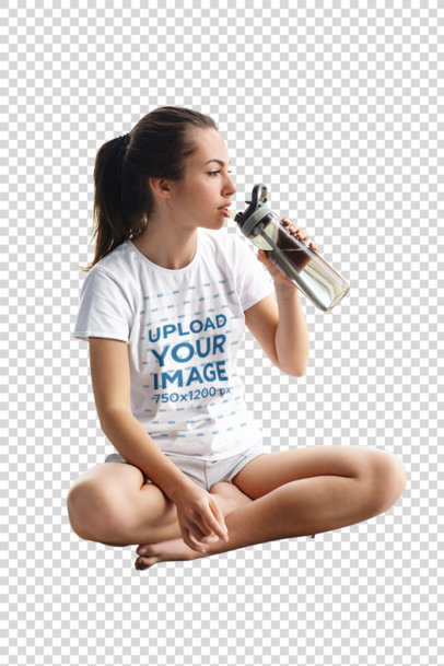 Transparent T-Shirt Mockup of a Woman Taking an Online Yoga Class 46614-r-el2