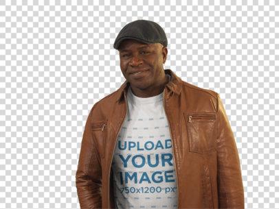 Transparent T-Shirt Mockup Featuring a Smiling Senior Black Man with a Beret a21427