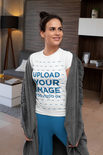 Transparent T-Shirt Mockup Featuring a Woman with Cozy Garments m793