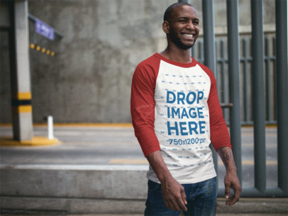 Transparent Raglan T-Shirt Mockup of a Black Guy Smiling Over to Someone a12549b
