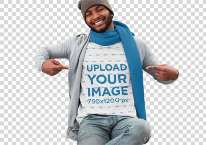Transparent T-Shirt Mockup Featuring a Man Sitting on a Concrete Bench at a Park in Autumn 30284