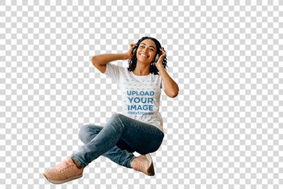 Transparent T-Shirt Mockup of a Woman Sitting Next to a Guitar 39156-r-el2
