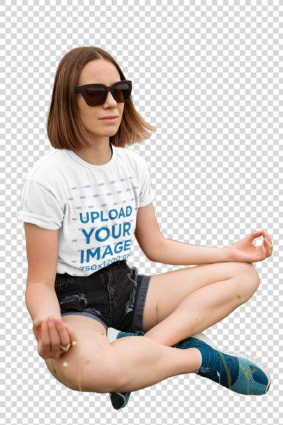 Transparent T-Shirt Mockup of a Woman Meditating After a Hike 42952-r-el2