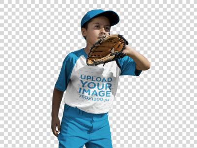 Transparent Baseball Uniform Designer - Boy Wearing a Raglan Tee Mockup About to Catch the Ball a16378