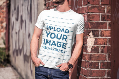 Transparent T-Shirt Mockup of a Bearded Man Leaning on a Brick Wall 2963-el1