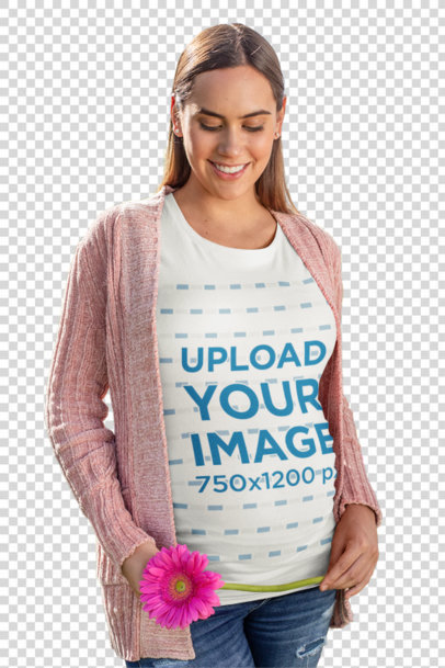 Transparent T-Shirt Mockup of a Pregnant Woman in a Flowery Scenario 26685