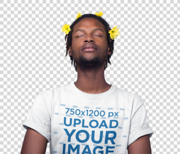Transparent Black Man Meditating Wearing a T-Shirt Mockup and Flowers on his Head a19921