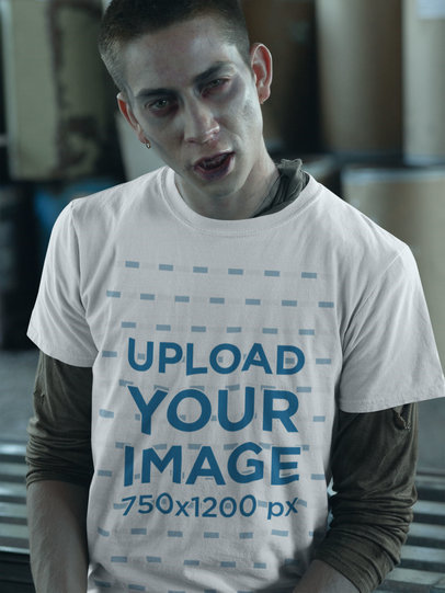 Transparent T-Shirt Mockup of a Scary Man with Zombie Makeup 29335