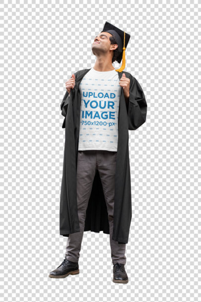 Transparent T-Shirt Mockup Featuring a Proud Young Man Wearing a Graduation Gown 32629
