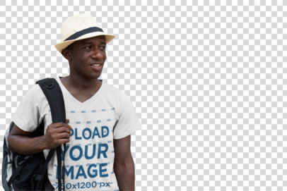 Transparent Mockup of a Tourist Wearing a V-Neck Tee on the Street 40410-r-el2