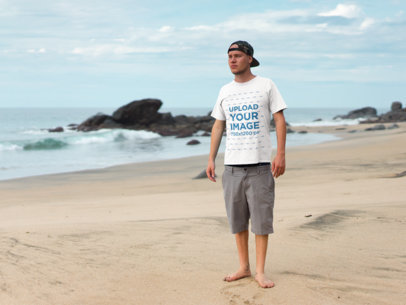 Transparent T-Shirt Mockup Beach Side Male a18792
