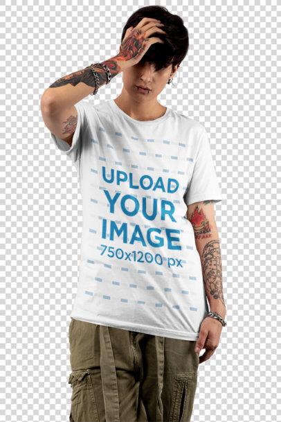 Transparent T-Shirt Mockup of an Androgynous Woman with Tattooed Arms at a Studio 32929