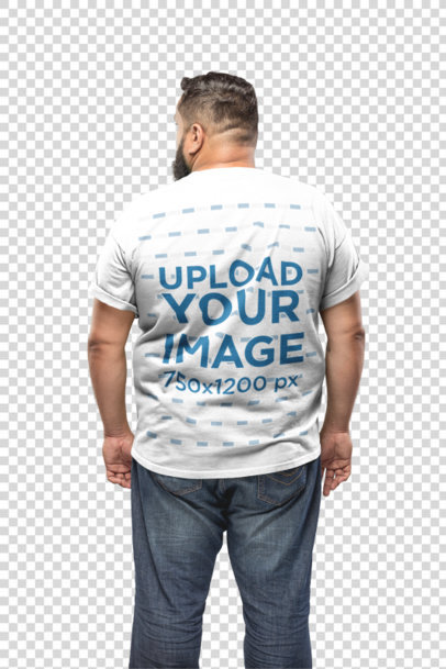 Transparent Back of a Plus Size T-Shirt Mockup of a Man Against a White Wall 20801