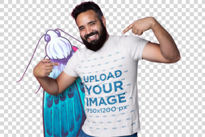 Transparent Mockup of a Man Smiling and Pointing at His Own T-Shirt 26220