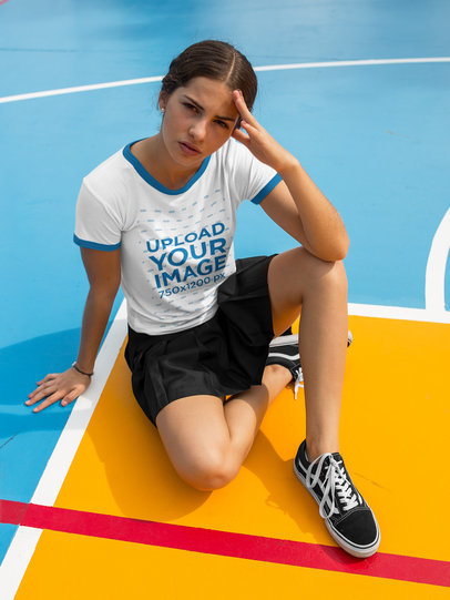 Transparent Mockup of a Beautiful Girl Wearing a Ringer T-Shirt Template While Under the Sun a17058