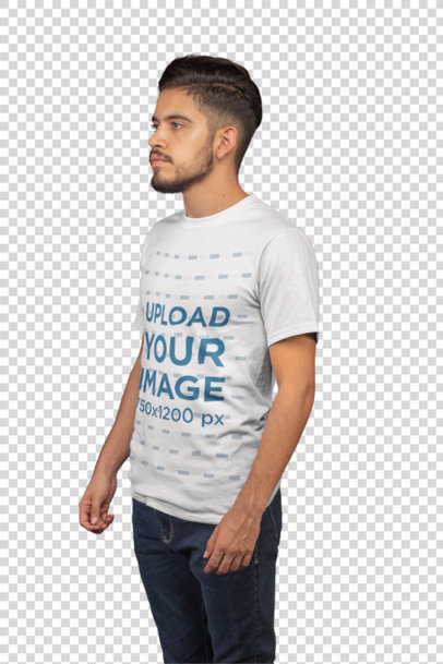 Transparent T-Shirt Mockup Featuring a Man with a Faux Hawk 21103