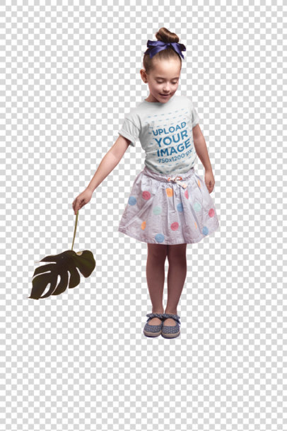 Transparent Little Girl Playing with a Leaf Wearing a T-Shirt Mockup on a Box a19731