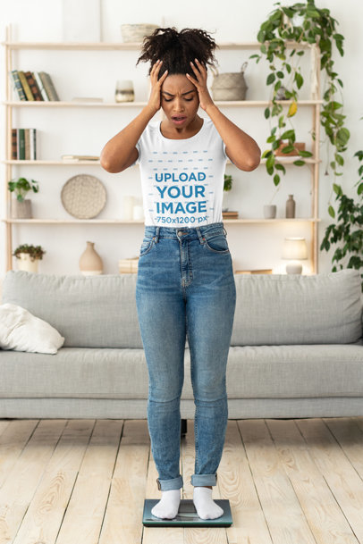 Transparent T-Shirt Mockup of a Surprised Woman Standing on a Scale 43677-r-el2
