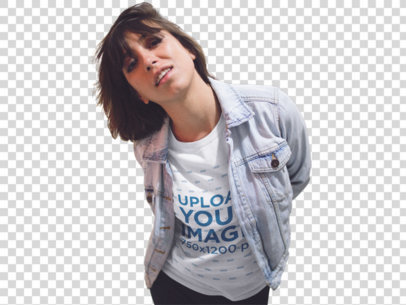 Transparent Young Girl Having Fun While Wearing a Round Neck Tee and a Denim Jacket On Top Near Closed Stores Template a13574