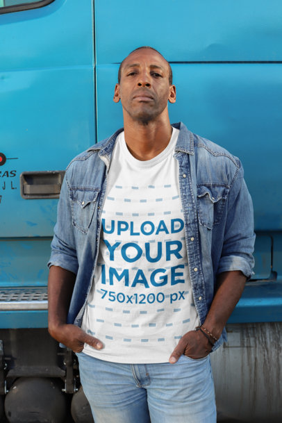 Transparent Mockup of a Truck Driver with a Customizable T-Shirt Standing Next to a Truck 29471