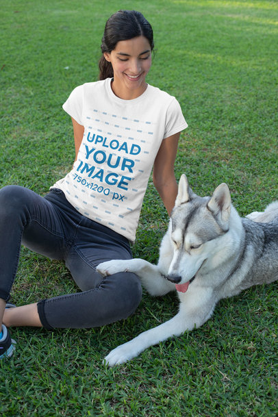 Transparent T-Shirt Mockup of a Woman Sitting on the Grass with Her Dog 30659
