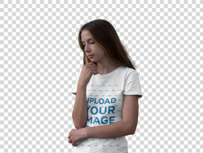 Transparent Mockup of a Young Woman Wearing a Tee in the Woods 20732