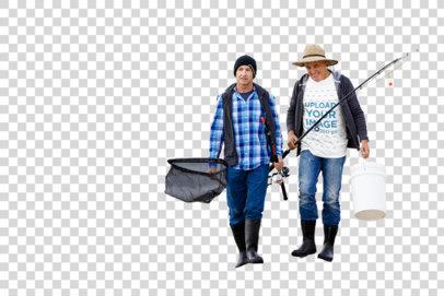 Transparent T-Shirt Mockup of Two Fishermen Walking by the Sea 3236-el1