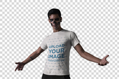 Transparent Mockup of a T-Shirt Featuring an Edgy Man with Halloween Makeup 23019