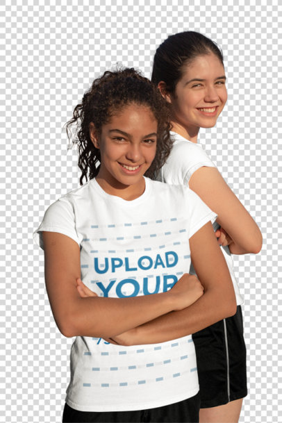 Transparent T-Shirt Mockup of Two Teenagers Posing at a Soccer Field 33558