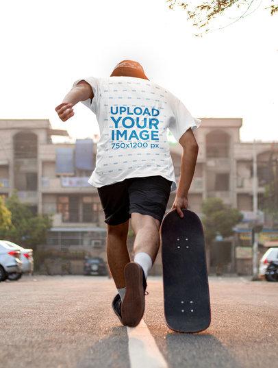 Transparent T-Shirt Mockup of a Man Skating Away 45305-r-el2