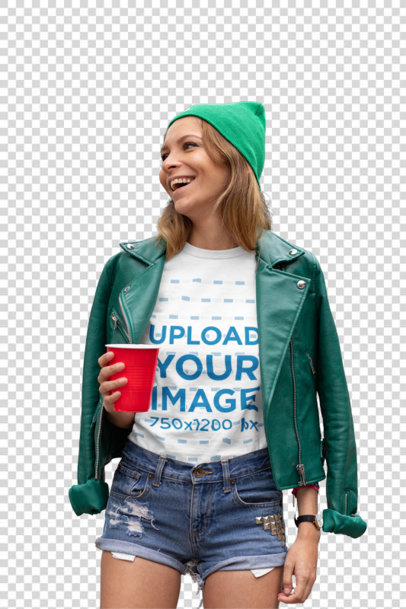 Transparent T-Shirt Mockup of a Woman Dress in Green for St. Patrick's Day 32120