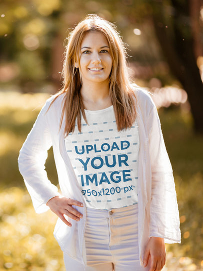 Transparent Mockup of a Woman with a Basic Tee Posing in a Park 44312-r-el2
