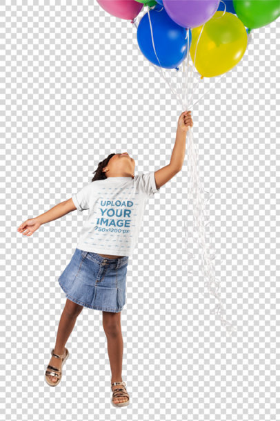 Transparent Mockup of a Little Girl Wearing a T-Shirt Holding Balloons in a Studio 22051