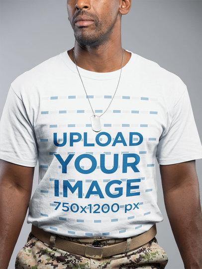 Transparent Closeup of a Veteran Wearing a T-Shirt Mockup at a Studio a20933