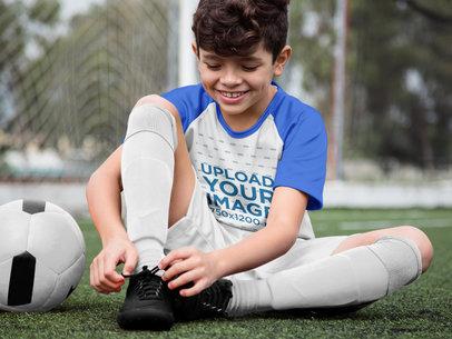 Transparent Custom Soccer Jerseys - Happy Boy Buckling his Shoes a16607
