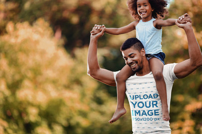 Transparent T-Shirt Mockup Featuring a Dad Carrying His Daughter on His Shoulders 42236-r-el2