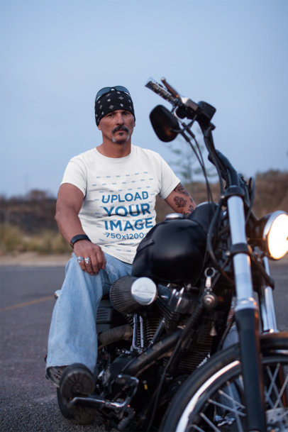 Transparent T-Shirt Mockup Featuring a Serious Biker Man On His Motorcycle  20219