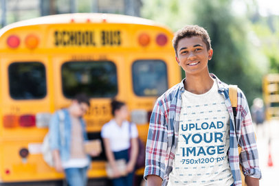Transparent T-Shirt Featuring a Teenage Boy and a High-School Bus in the Background 45986-r-el2