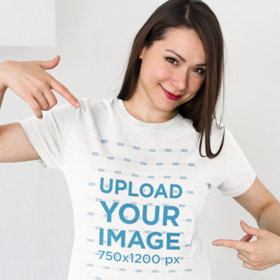 Transparent Smiling Customer Showing her New T-Shirt Mockup Against a White Background a15529