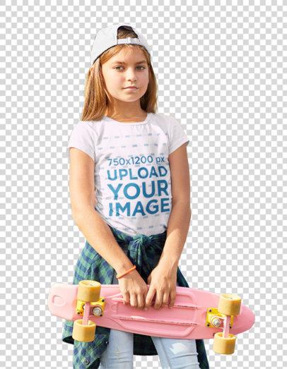 Transparent T-Shirt Mockup Featuring a Serious Girl at a Skatepark 37888-r-el2