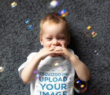 Transparent T-Shirt Mockup of a Happy Baby Surrounded by Bubbles 45318-r-el2