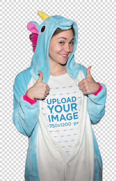 Transparent Geek Girl Wearing a T-Shirt Mockup with Unicorn Pajamas On a19261