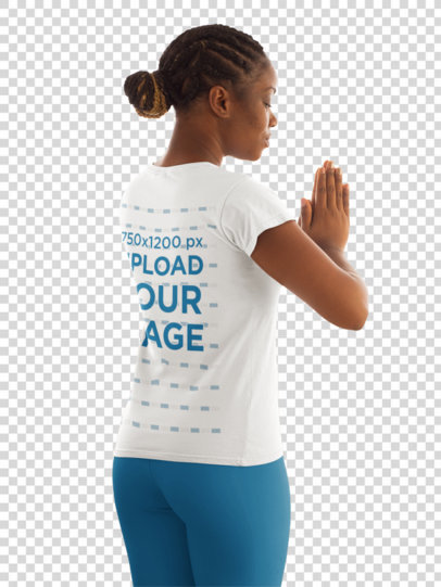 Transparent Back View T-Shirt Mockup Featuring a Woman Practicing Yoga 31092