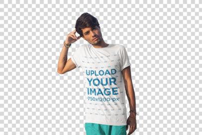 Transparent T-Shirt Mockup of a Man Leaning on a Panga Boat 26754