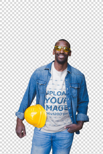 Transparent Happy Man Wearing a T-Shirt Template at the Warehouse a20452