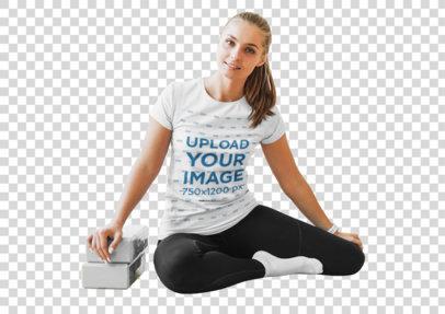 Transparent T-Shirt Mockup of a Woman Using Yoga Blocks 45595-r-el2