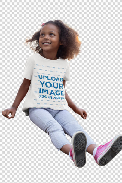 Transparent Mockup of a Little Girl Wearing a T-Shirt at a Park 32177