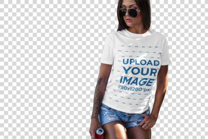 Transparent Mockup of a Woman with a T-Shirt Leaning on a Van at the Beach 2260-el1